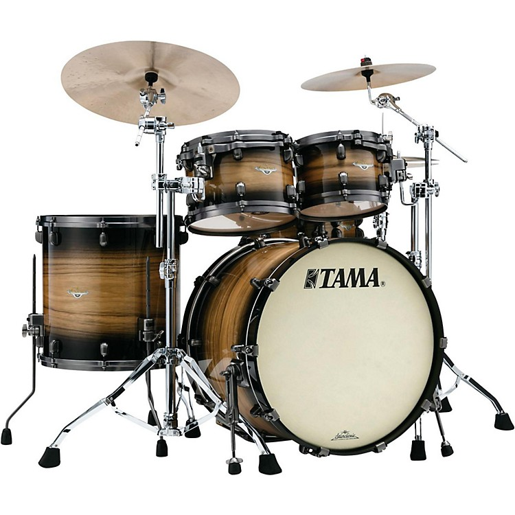 Tama Starclassic Maple Exotix Pacific Walnut 5-Piece Shell Pack with Smoked Black Nickel Hardware and 22 in. Bass Drum Natural Pacific Walnut Burst