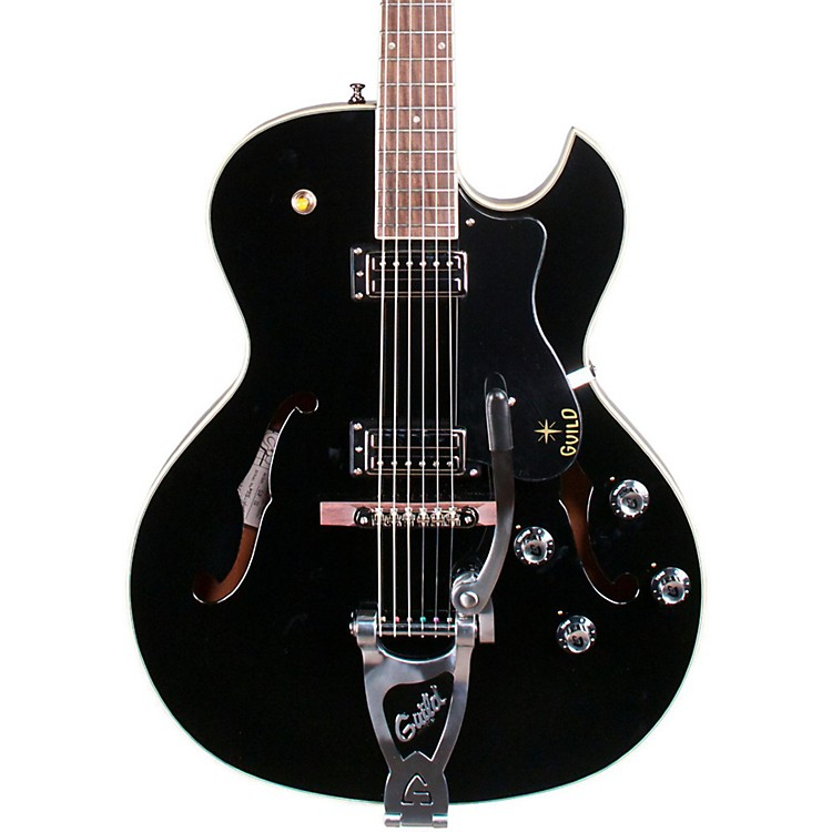 Guild Starfire III Hollowbody Archtop Electric Guitar with Guild Vibrato Tailpiece Black