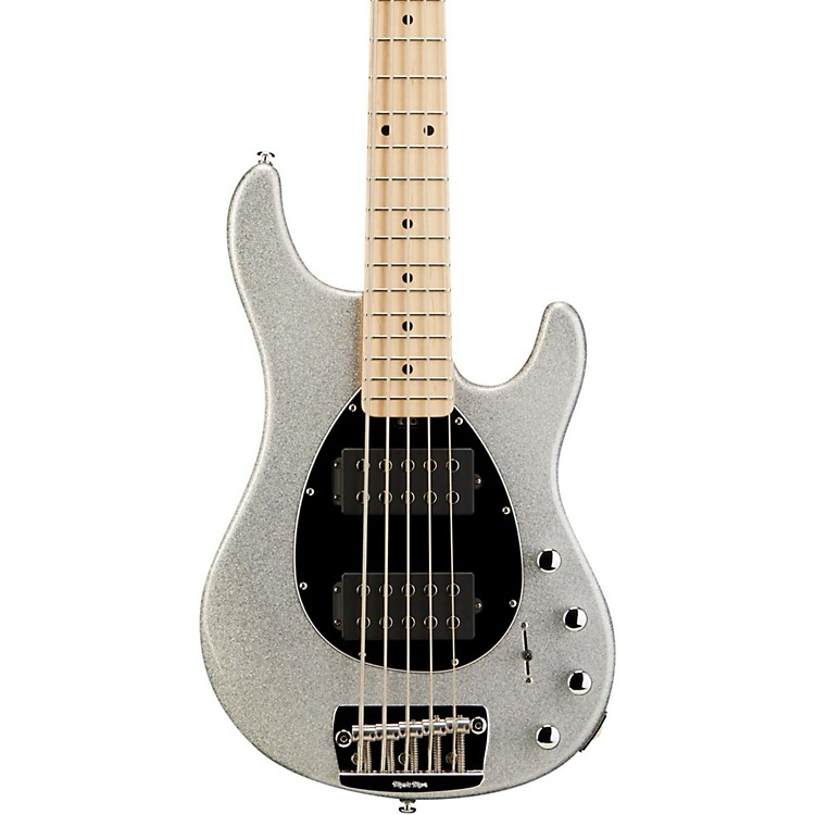 Ernie Ball Music Man Sterling 5 HH 5-String Electric Bass Guitar Silver Sparkle