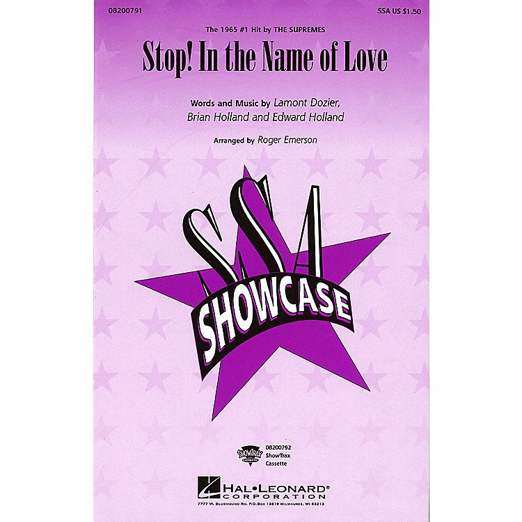 Hal LeonardStop! In the Name of Love SSA by The Supremes arranged by Roger Emerson