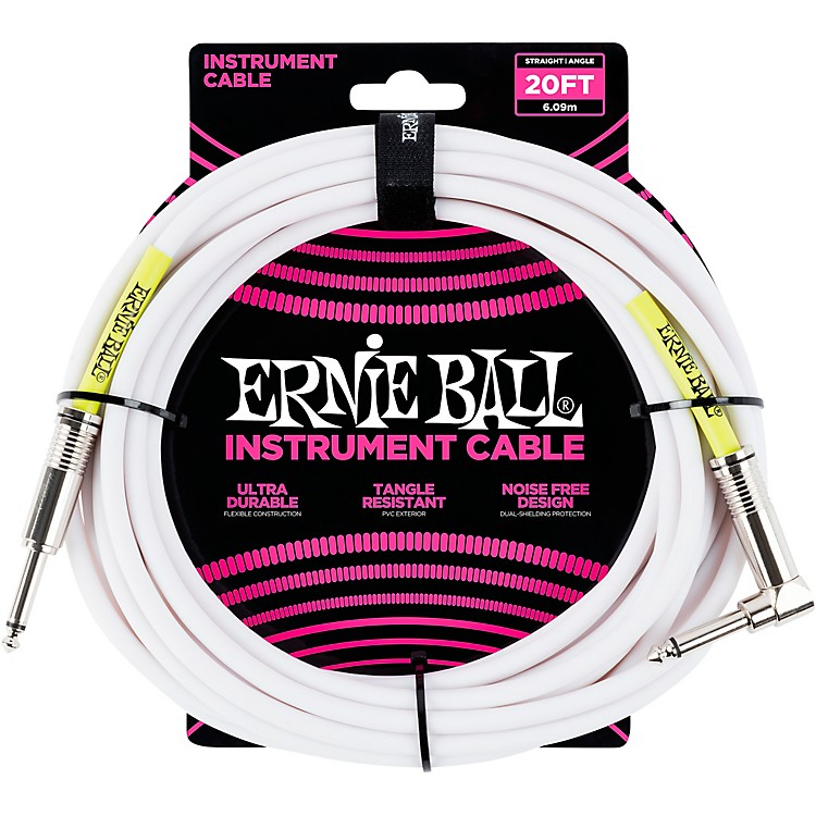 Ernie BallStraight-Angle Instrument Cable - White20 ft.