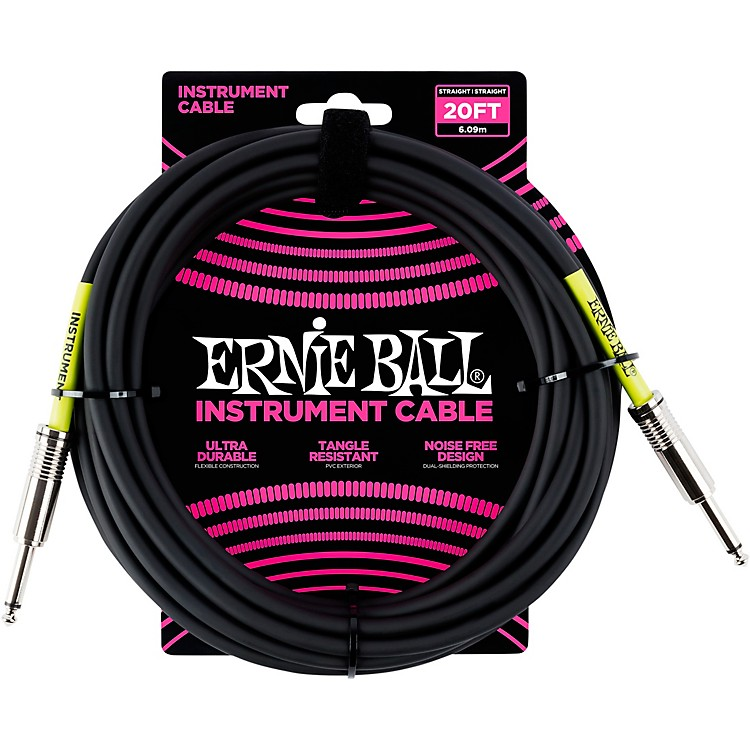 Ernie Ball Straight Instrument Cable - Black 20 ft.