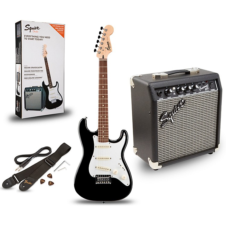 squier strat pack sss electric guitar with fender frontman 10g combo amplifier music123. Black Bedroom Furniture Sets. Home Design Ideas