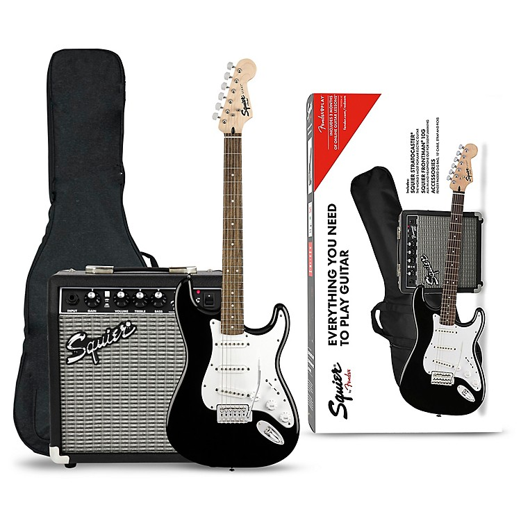 SquierStratocaster Electric Guitar Pack with Fender Frontman 10G AmpBlack