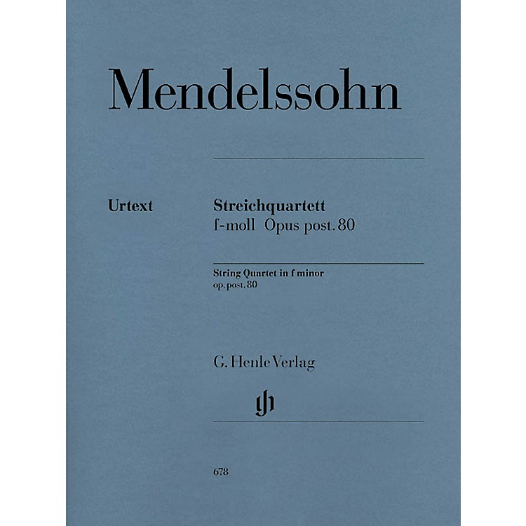 G. Henle VerlagString Quartet F Minor Op. Posth. 80 Henle Music Folios Series Softcover Composed by Felix Mendelssohn