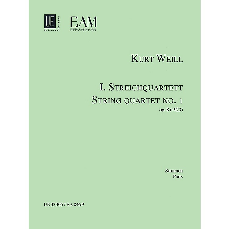Universal EditionString Quartet No. 1, Op. 8 (Parts) String Series Composed by Kurt Weill