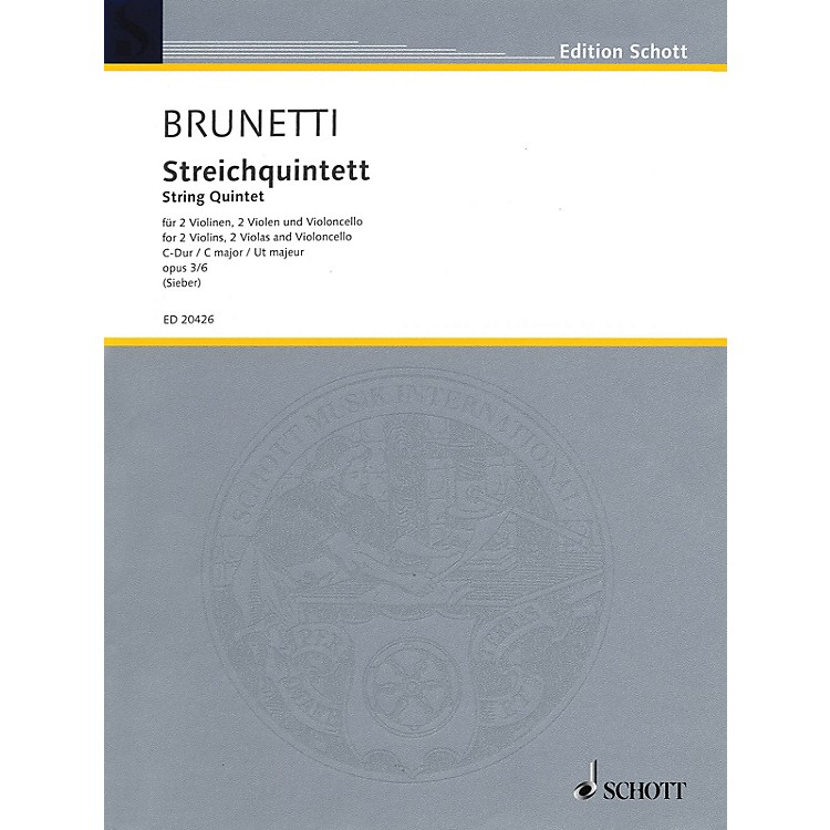 SchottString Quintet Op. 3 No. 6 in C Major (Score and Parts) String Series Composed by Gaetano Brunetti