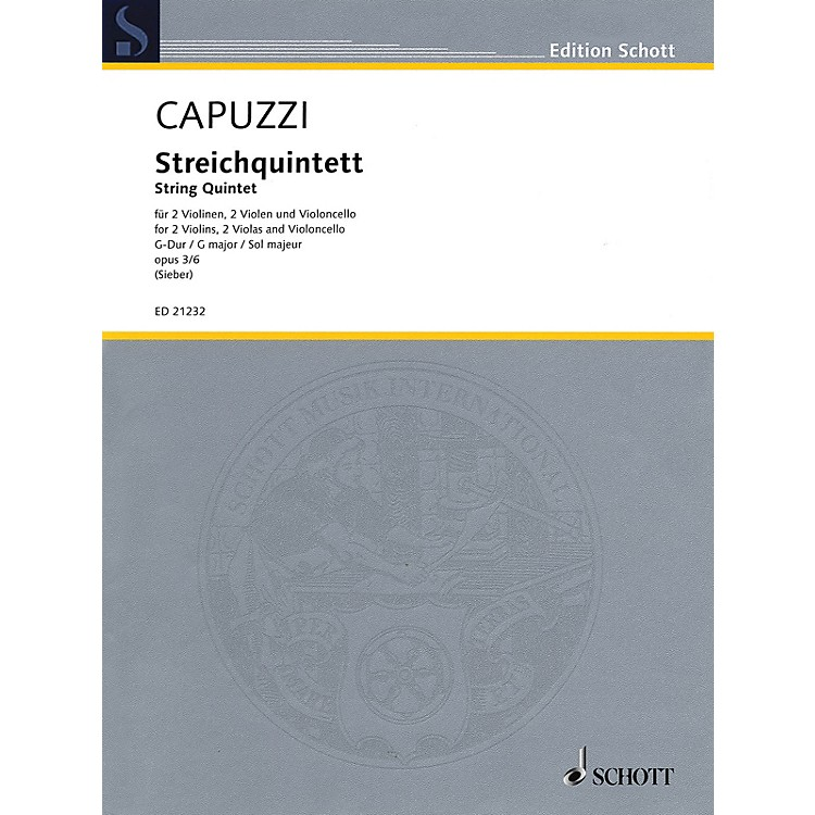 SchottString Quintet in G Major, Op. 3, No. 6 String Ensemble Series Softcover Composed by Antonio Capuzzi
