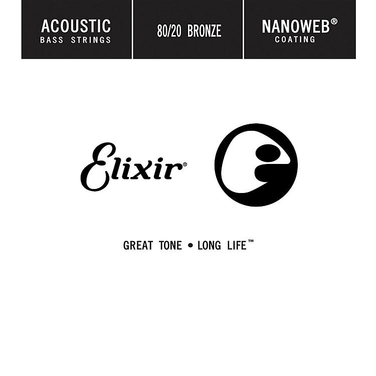 ElixirStrings 80/20 Bronze Single Acoustic Bass String w NANOWEB Coating, Long Scale, Light (.045)