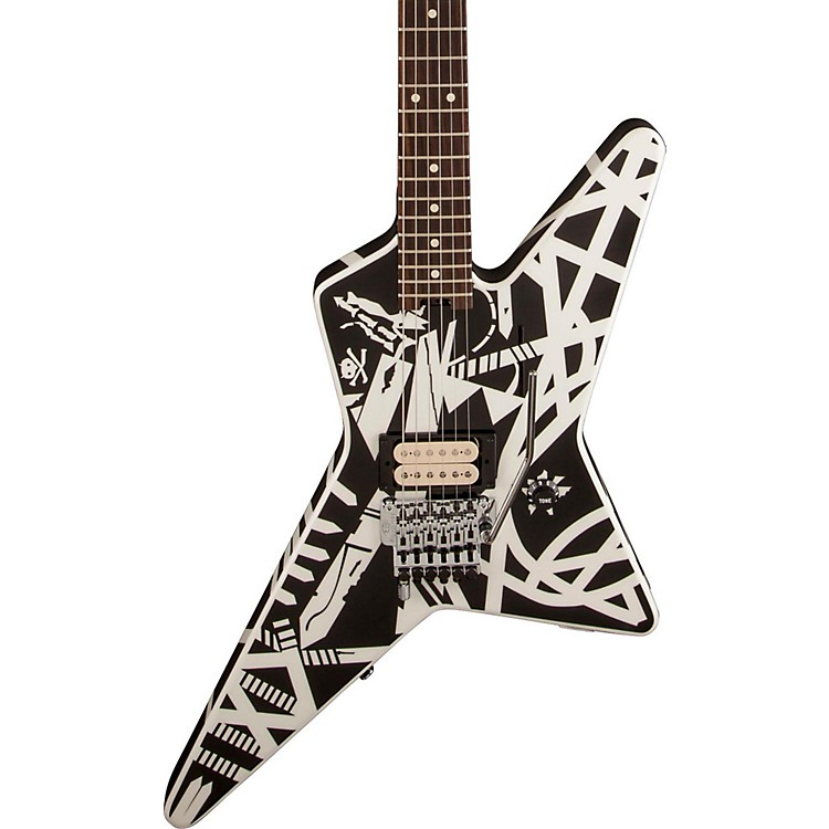 EVH Stripe Series Star Electric Guitar Black and White Stripes