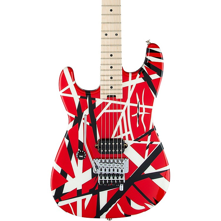 EVHStriped Series Left-Handed Electric GuitarRed, Black, and White Stripes