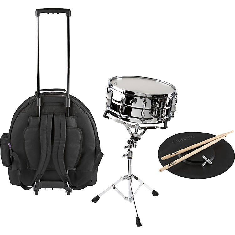 Yamaha student snare drum kit with rolling case music123 for Yamaha student bell kit with backpack and rolling cart