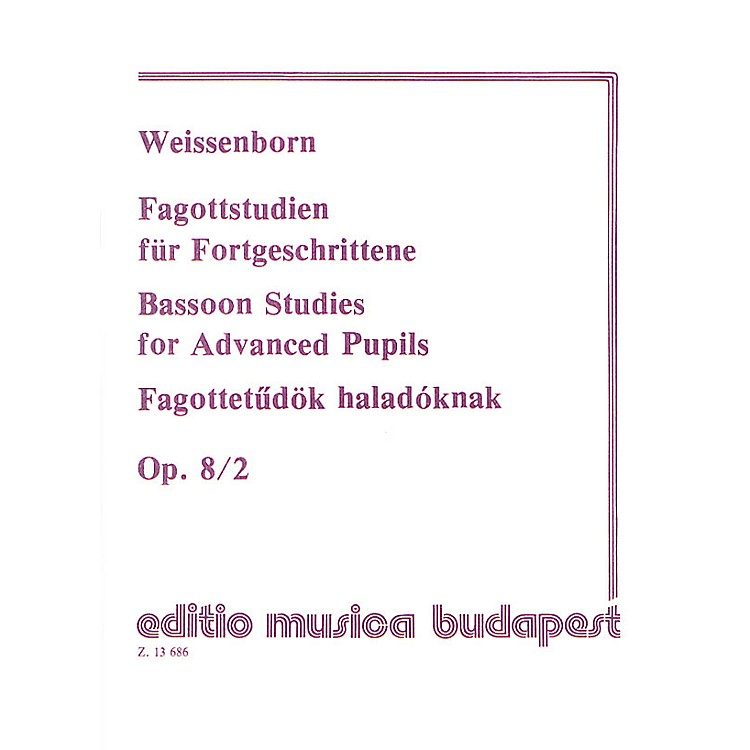 Editio Musica BudapestStudies for Bassoon, Op. 8 - Volume 2 EMB Series by Julius Weissenborn