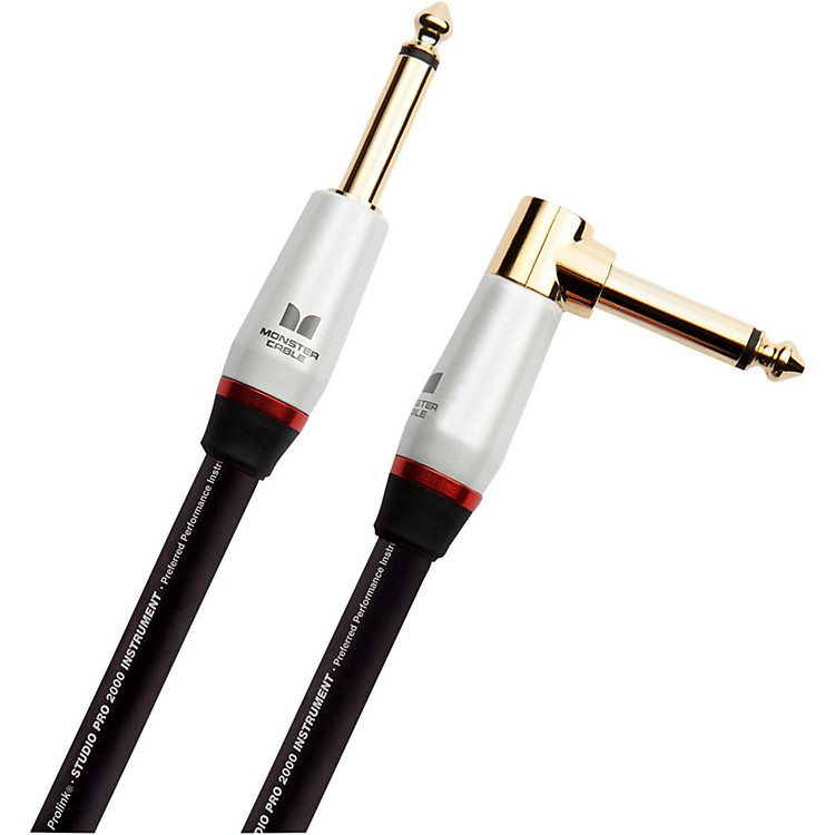 Monster Cable Studio Pro 2000 1/4 Inch  Angled to Straight Instrument Cable 12 ft.