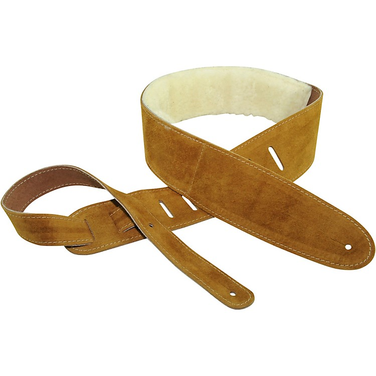 Perri's Suede With Sheep Skin Guitar Strap Natural 2.5 in.