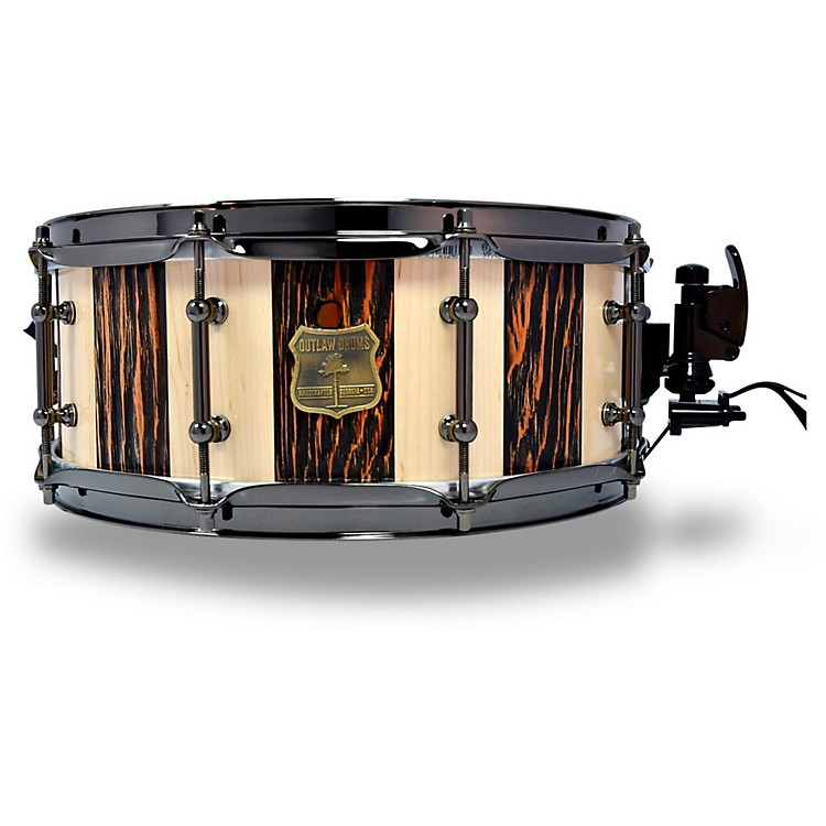 OUTLAW DRUMSSuite Stripe Douglas Fir and Maple Stave Snare Drum with Black Chrome Hardware14 x 5.5 in.Black/Natural