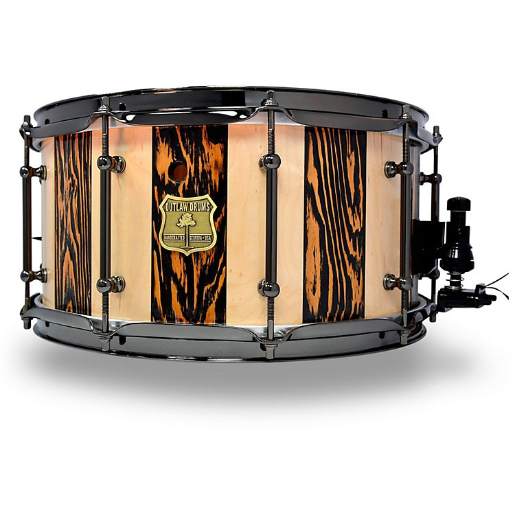 OUTLAW DRUMS Suite Stripe Douglas Fir and Maple Stave Snare Drum with Black Chrome Hardware 14 x 7 in. Black/Natural