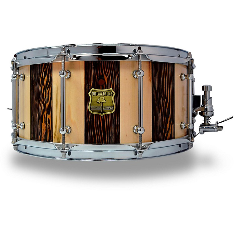 OUTLAW DRUMS Suite Stripe Douglas Fir and Maple Stave Snare Drum with Chrome Hardware 14 x 6.5 in. Black/Natural