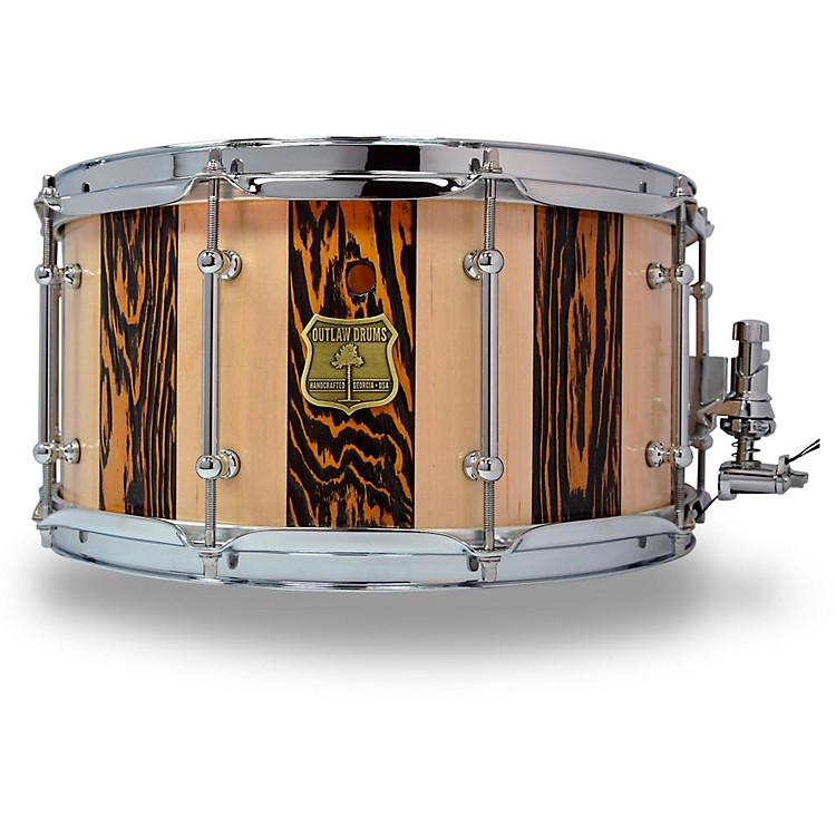 OUTLAW DRUMSSuite Stripe Douglas Fir and Maple Stave Snare Drum with Chrome Hardware14 x 7 in.Black/Natural