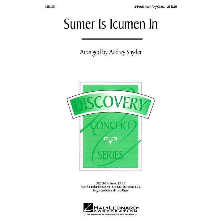 Hal Leonard Sumer Is Icumen In (2-Part (opt. 3-Part)) 2-Part/3-Part any combination arranged by Audrey Snyder