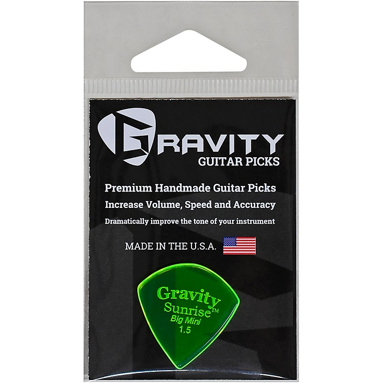 GRAVITY PICKSSunrise Big Mini Polished Fluorescent Green Guitar Picks1.5 mm