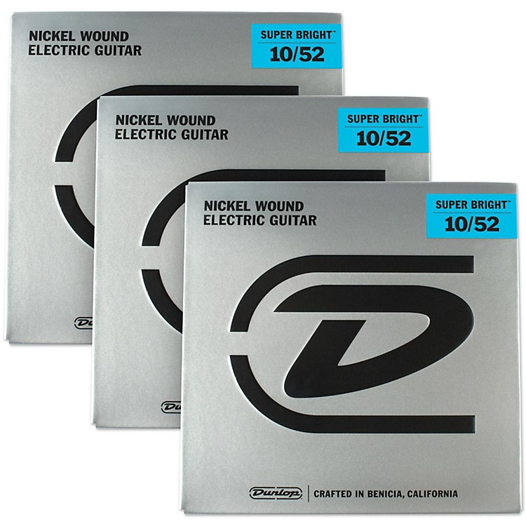 DunlopSuper Bright Light Top/Heavy Bottom Nickel Wound Electric Guitar Strings (10-52) 3-Pack