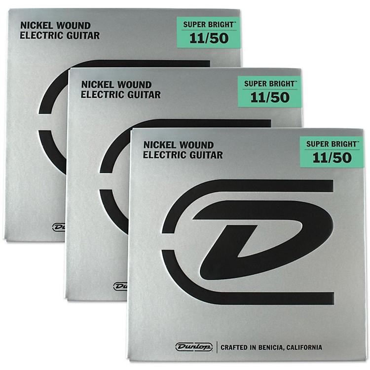 DunlopSuper Bright Medium Heavy Nickel Wound Electric Guitar Strings (11-50) 3-Pack