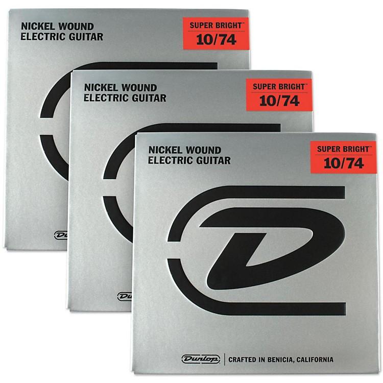DunlopSuper Bright Medium Nickel Wound 8-String Electric Guitar Strings (10-74) 3-Pack