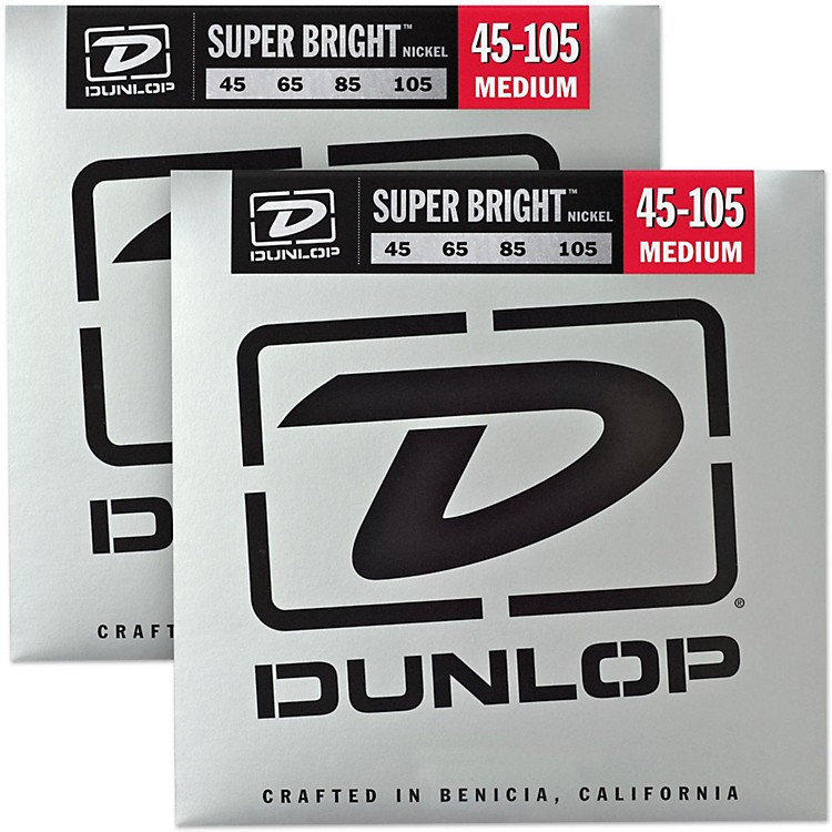 Dunlop Super Bright Nickel Medium 4-String Bass Guitar Strings (4-105) 2-Pack