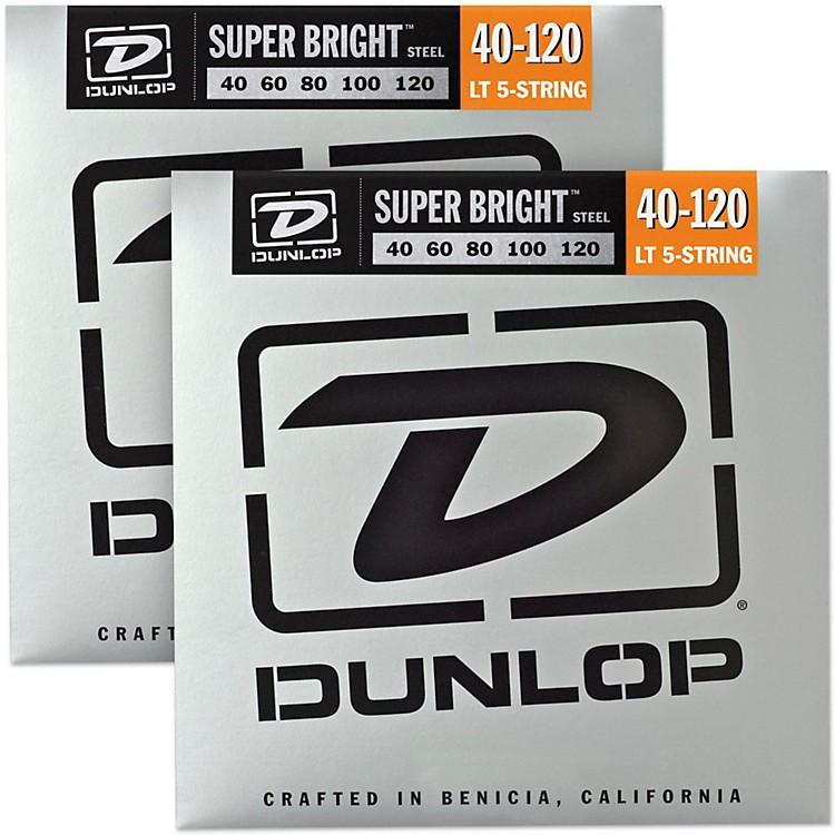 DunlopSuper Bright Steel Light 5-String Bass Guitar Strings (40-120) 2-Pack