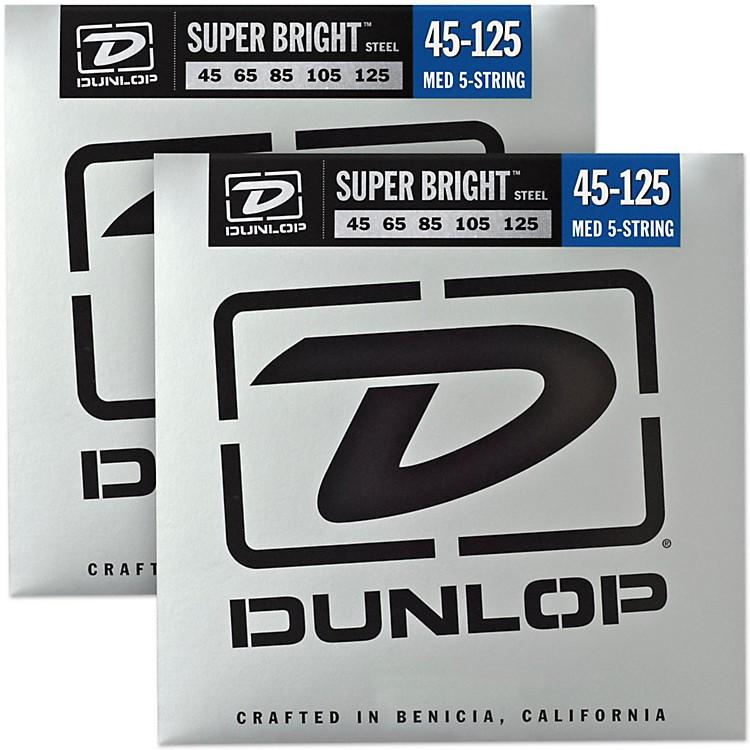 DunlopSuper Bright Steel Medium 5-String Bass Guitar Strings (45-125) 2-Pack