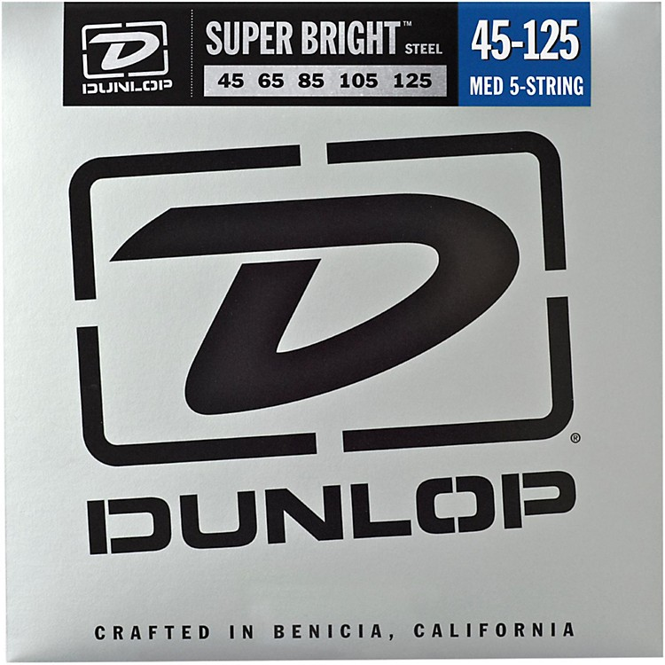 Dunlop Super Bright Steel Medium 5-String Bass Guitar Strings