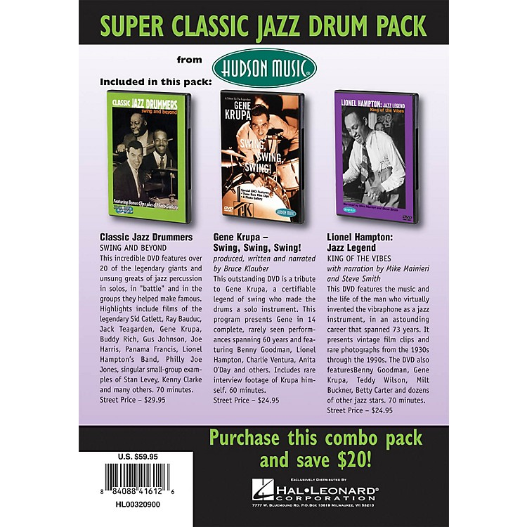 Hudson MusicSuper Classic Jazz Drum Pack 3-DVD Set DVD Series DVD Performed by Various