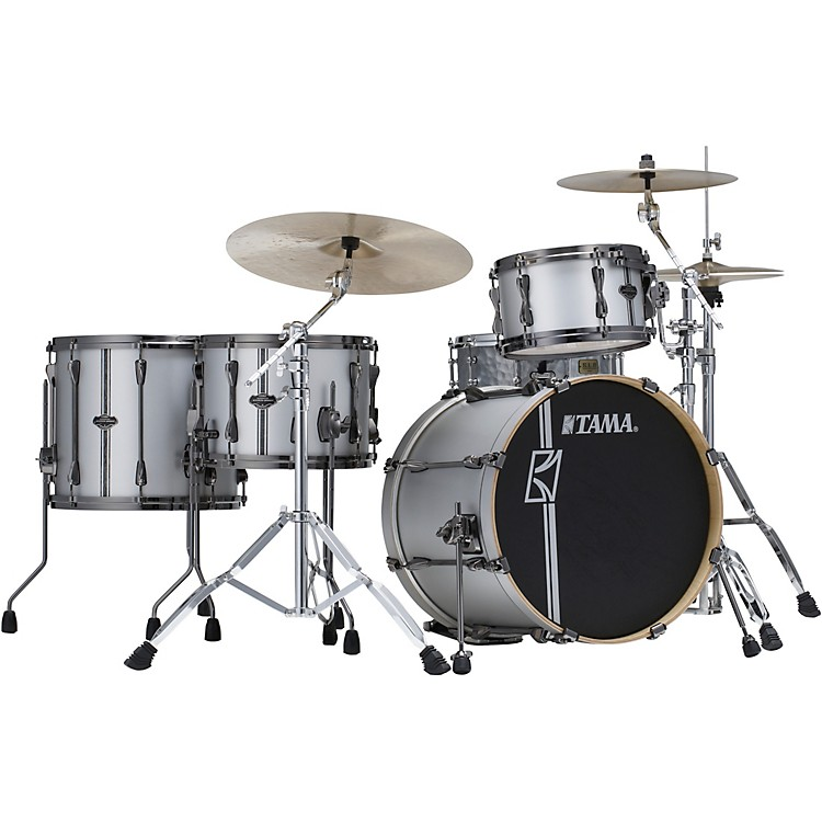 TAMA Superstar Hyper-Drive Duo 4-Piece Shell Pack Satin Silver Vertical Stripe