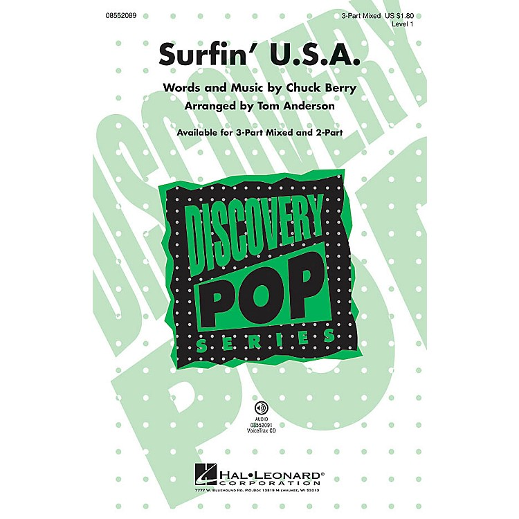 Hal Leonard Surfin' U.S.A. (Discovery Level 1) 2-Part by Beach Boys Arranged by Tom Anderson