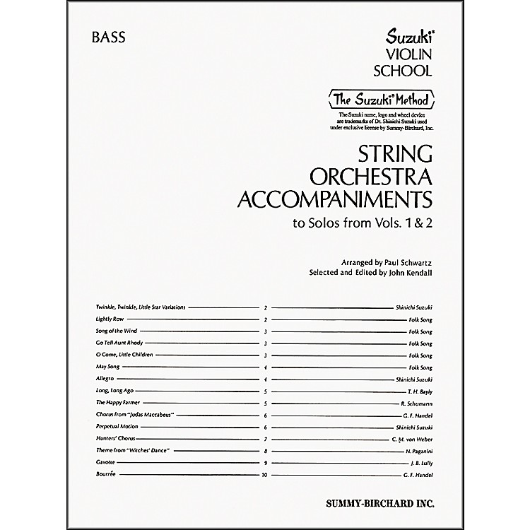 Alfred Suzuki String Orchestra Accompaniments, Bass (Book)