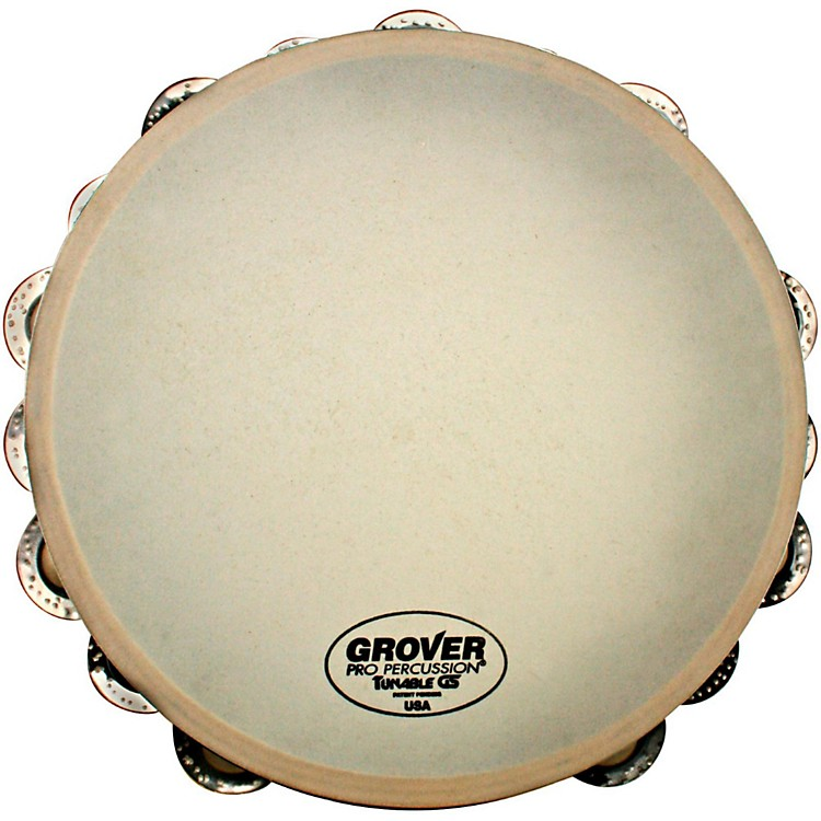 Grover Pro Synthetic Head Tambourine 10 in. Double Row German Silver Jingles