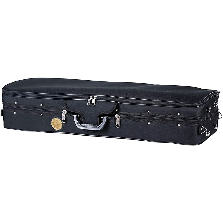 Travelite TL-35 Deluxe Violin Case - Oblong 1/2 Size Black Exterior, Green Interior
