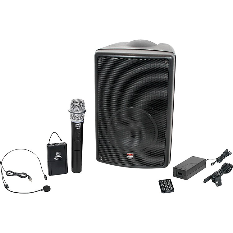Galaxy AudioTQ8-24HSN Traveler Quest 8 All-In-One Portable PA System With Two Receivers, One Handheld Microphone, and One Headset Microphone