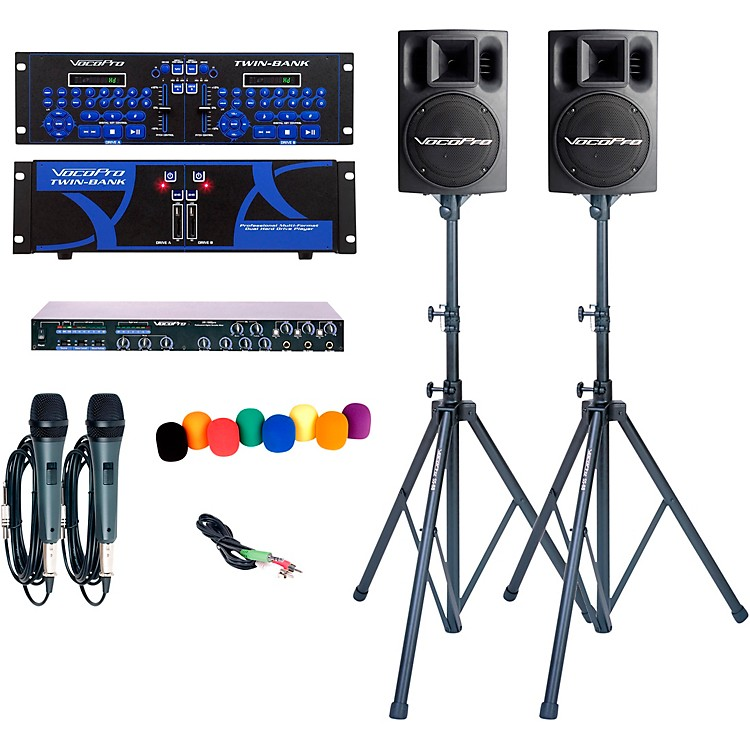 VocoProTWIN BANK PRO-PLUS Digital DJ Karaoke System with Powered Speakers and Stands
