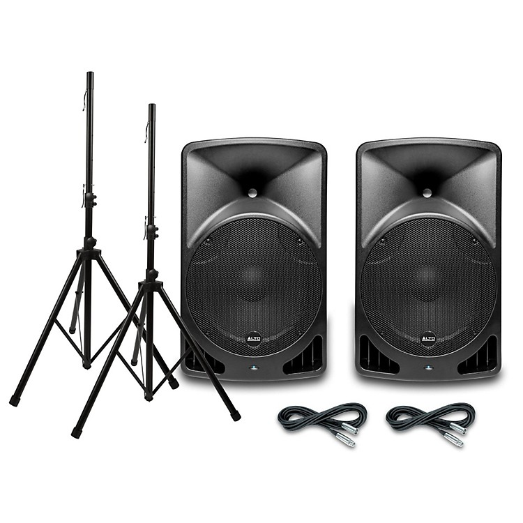 Alto TX15USB 15 Inch Powered Speaker Pair with Stands and Cables