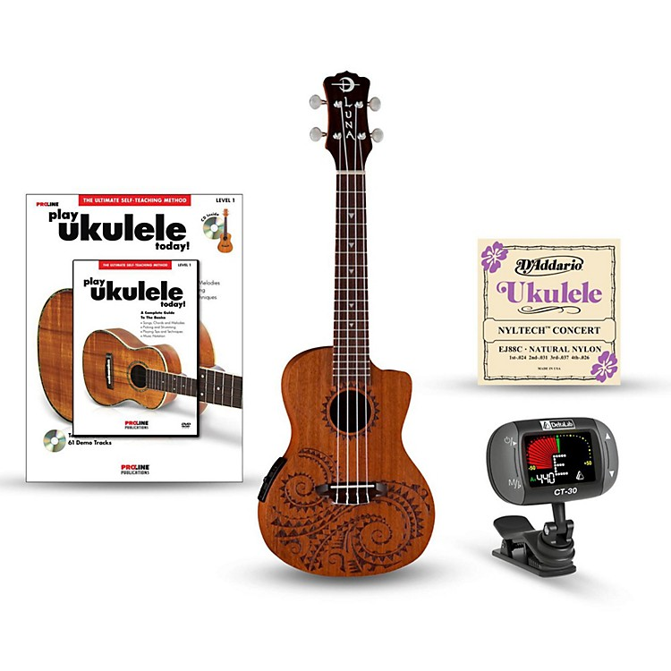 Luna Guitars Tattoo Concert Mahogany Ukulele with Preamp Bundle Natural