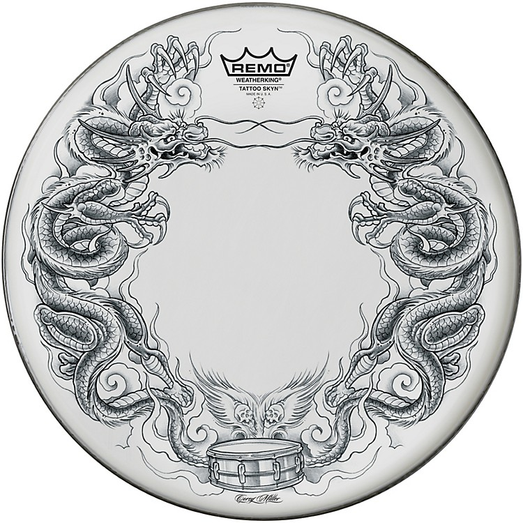 Remo Tattoo Skyn Drumhead 14 in. Rock & Roses Graphic