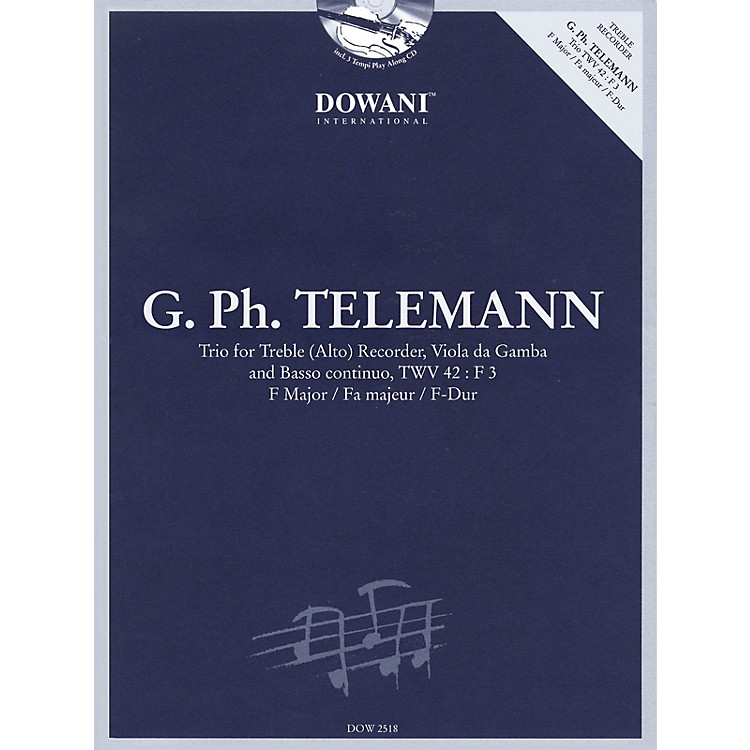 Dowani Editions Telemann: Trio for Treble (Alto) Recorder, Va, & Basso Cont TWV42 F Maj Dowani Book/CD