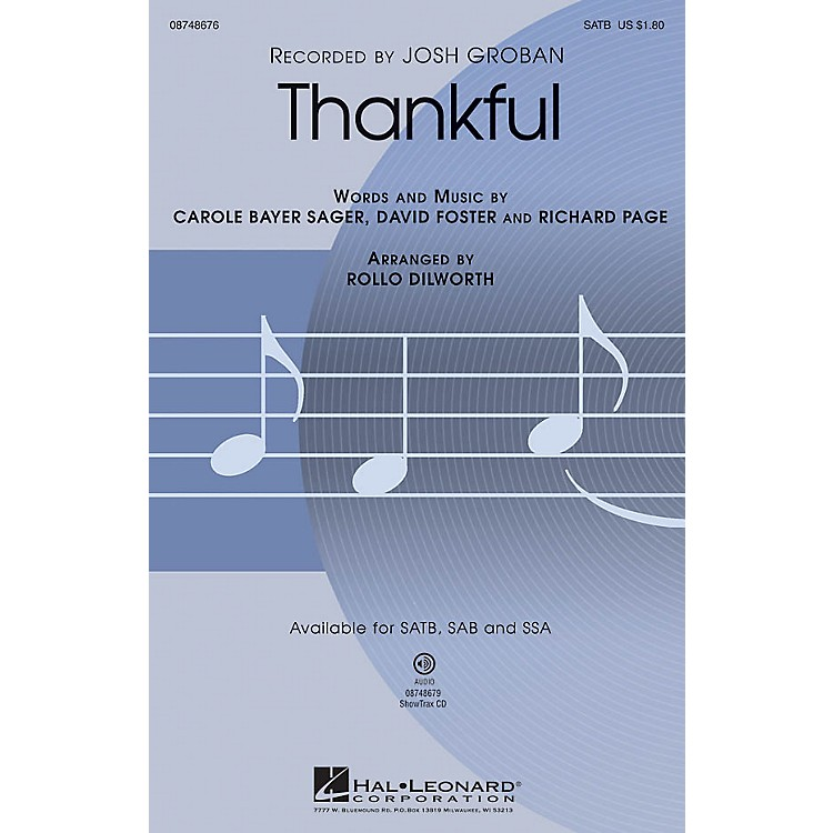 Hal LeonardThankful SATB arranged by Rollo Dilworth
