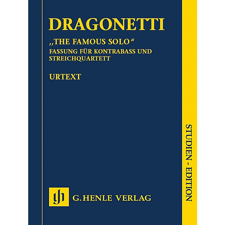 G. Henle VerlagThe Famous Solo for Double Bass and Orchestra Henle Study Scores by Dragonetti Edited by Tobias Glöckler