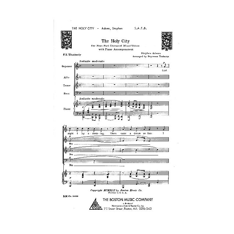 Boston MusicThe Holy City SATB Composed by Stephen Adams