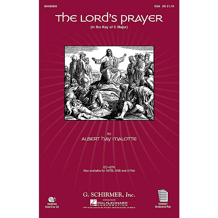 G. SchirmerThe Lord's Prayer (in C, with Orchestra) SSA arranged by Janet Day