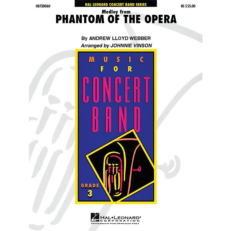 Hal Leonard The Phantom of the Opera (Medley) - Young Concert Band Series Level 3 arranged by Johnnie Vinson