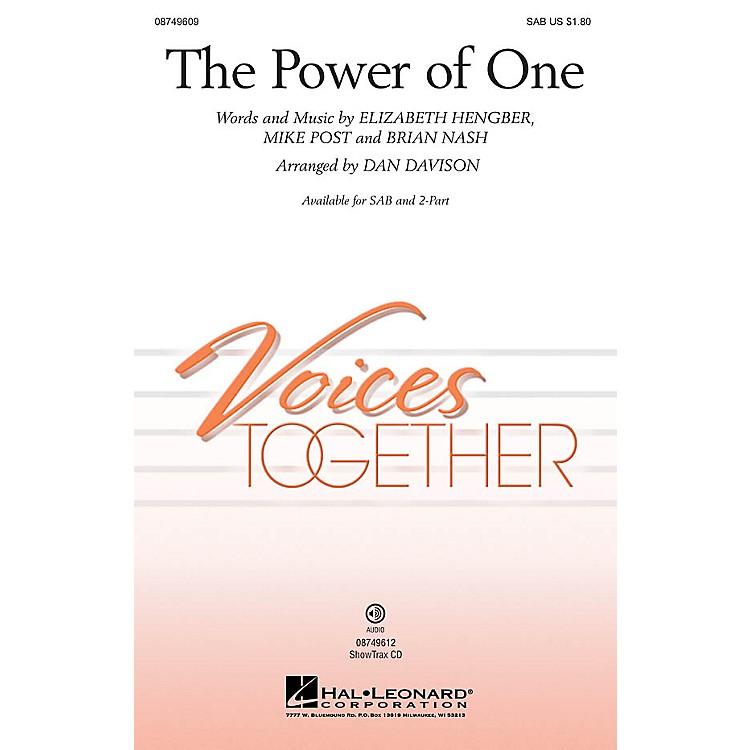 Hal LeonardThe Power of One SAB arranged by Dan Davison